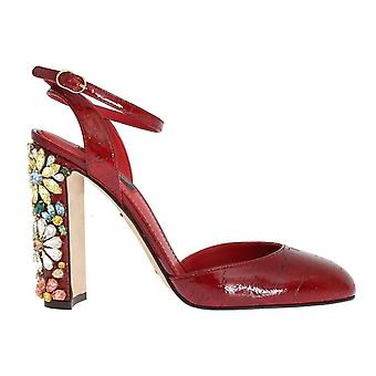 Dolce & Gabbana Red Leather Floral Crystal Shoes -- LA26878981