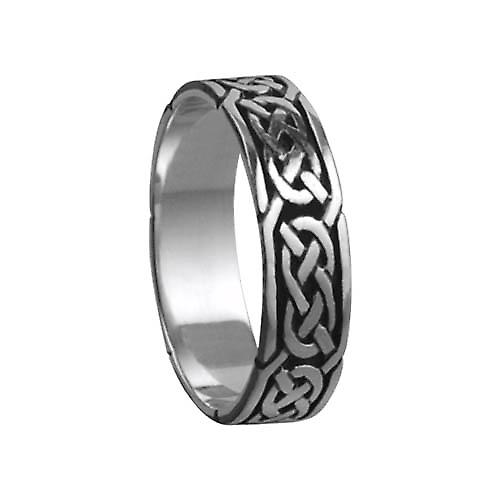 Silver oxidized 6mm Celtic Wedding Ring Size Z