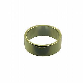 9ct Gold 8mm plain flat Wedding Ring Size Q
