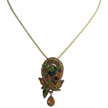 Vintage Pendant Multi Color Crystal Gold Plated Chain Necklace