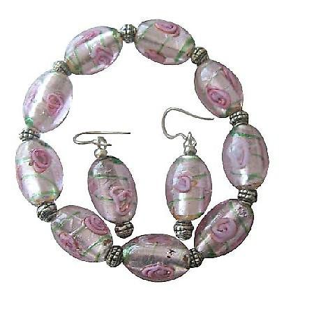 Pink MILLIFIORI VENETIAN GLASS BEADS Stretchable Bracelet Earrings