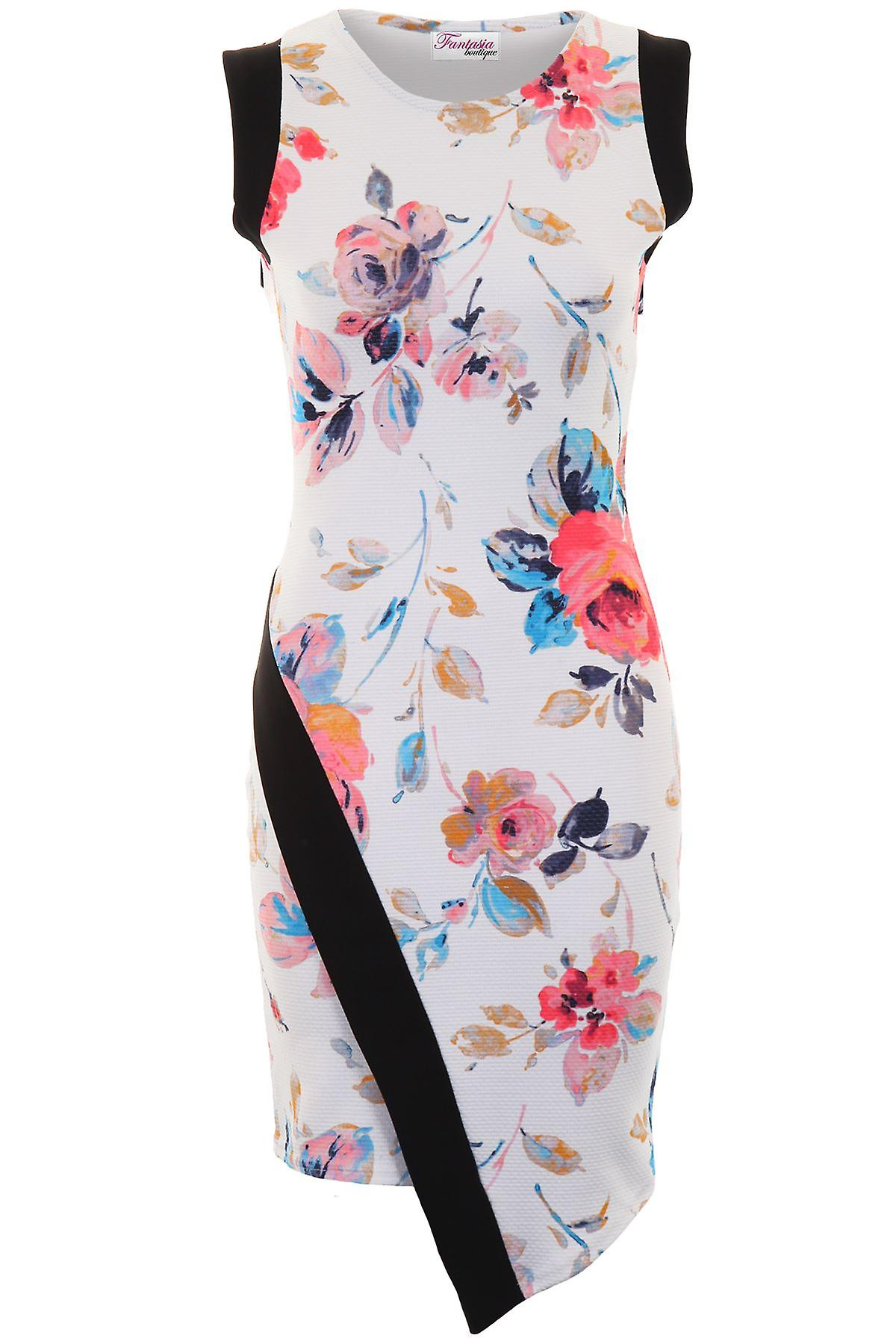 Ladies Sleeveless Asymmetric Floral Print Panel Textured Wrap Bodycon Dress
