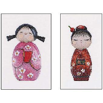 Kokeshi Dolls On Aida Counted Cross Stitch Kit-6.25