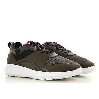 Hogan INTERACTIVE3 men's sneakers in brown leather and camouflage fabric