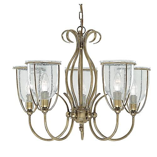 Searchlight 6355-5AB Silhouette 5 Arm Antique Brass Fitting Clear Seeded
