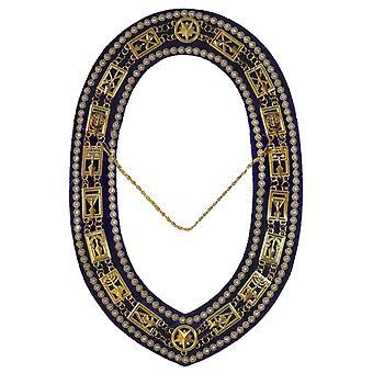 Cryptic Mason-Royal & Välj strass kedje krage-guld/silver på lila + gratis mål