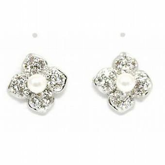 The Olivia Collection Simulated Pearl & Clear Glass Set Flower Stud Earrings