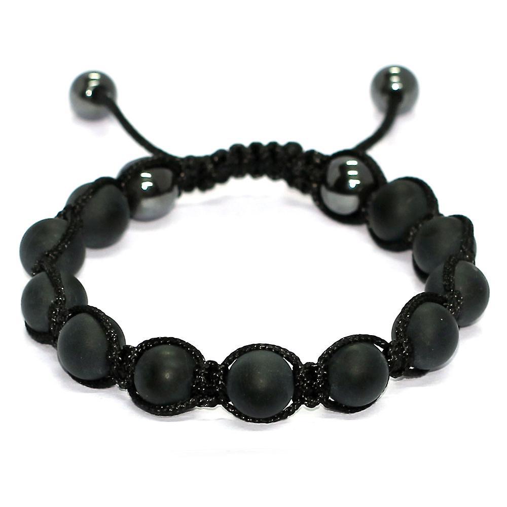 Mat zwarte agaat steen Shamballa armband met 4 hematiet ballen