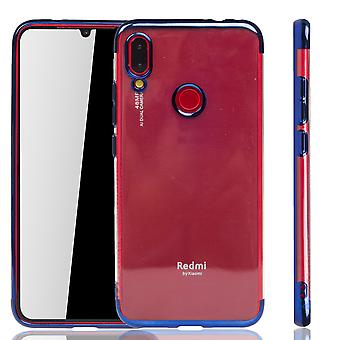 Handyhülle für Xiaomi Redmi Note 7 Blau - Clear - TPU Silikon Case Backcover Schutzhülle in Transparent / glänzender Rand Blau