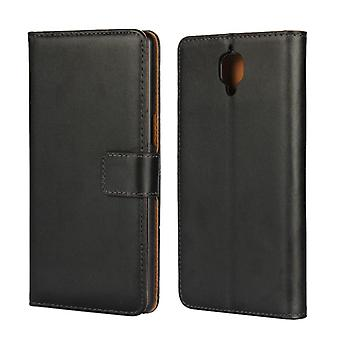 Wallet Pouch OnePlus 3, genuine leather, black