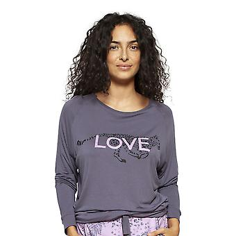 Cyberjammies 4192 kvinnors Laura Grey Leopard Print modal Pyjama topp