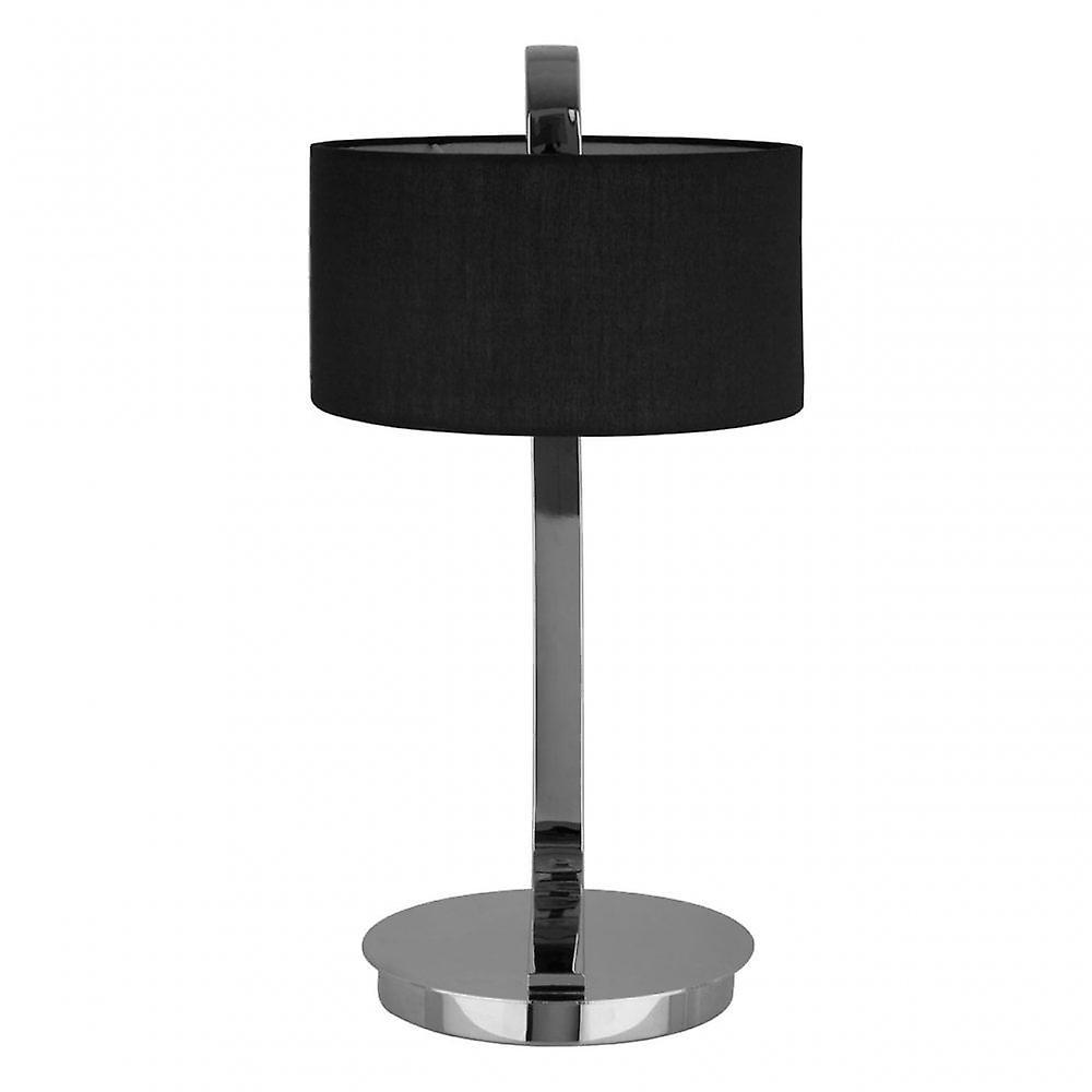 Premier Home Leyna Table Lamp - EU Plug, Chromed Fabric, Silver