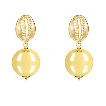 Cowrie Sea Shell Large Ball Round Drop Earrings Yellow Gold Big Plain Large