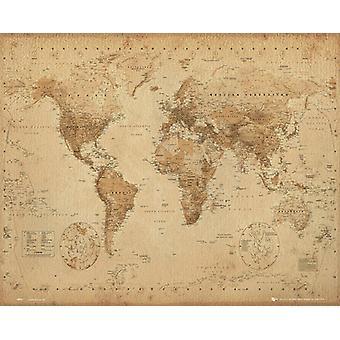 Monde carte Antique Style affichette 40x50cm