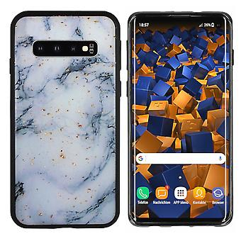 BackCover Marble Glitter voor Samsung S10 Blauw