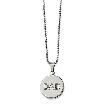 Stainless Steel Lasered and Polished Dad Circle Necklace - 20 Inch