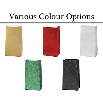 8 Mini Glitter Party or Favour Bags for Parties & Crafts - Choose your Colour