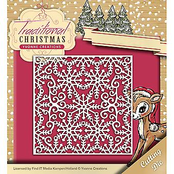 Find It Trading Yvonne Creations Die-Snowflake Frame, Noel traditionnel