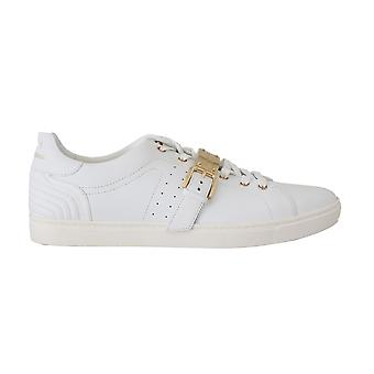 Dolce & Gabbana White Leather Gold Buckle Sport Sneakers -- MV21994864