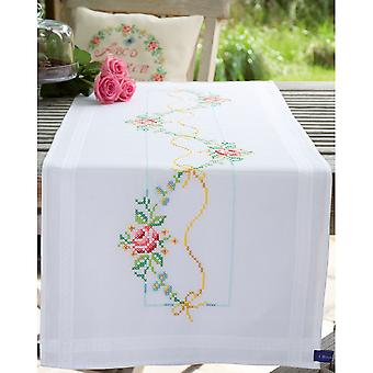 Garland With Roses Table Runner Stamped Embroidery Kit-16