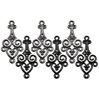 Jewelry Basics Metal Charms Gunmetal Black Filigree 6 Pkg Jbcharm 8386