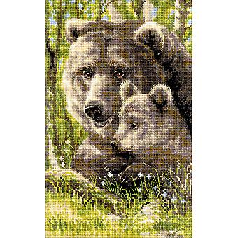 Bear With Cub Counted Cross Stitch Kit 8.75