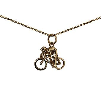 9ct Gold 14x18mm Bicycle and Cyclist Pendant with a cable Chain 16 inches Only Suitable for Children