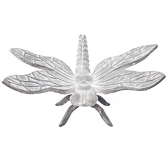 Large 20cm Aged Grey Cast Iron Dragonfly Garden Ornament