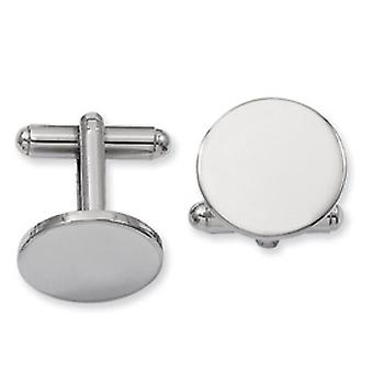 Rhodium-plated Round Polished Cuff Links