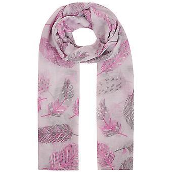 Schal mit grauen & rosa Feder-Print