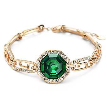 14K Gold Plated Green Austrian Crystals Link Chain Bracelet, 17cm