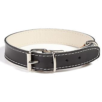 Doggy Things Plain Leather Dog Collar Black 40cm
