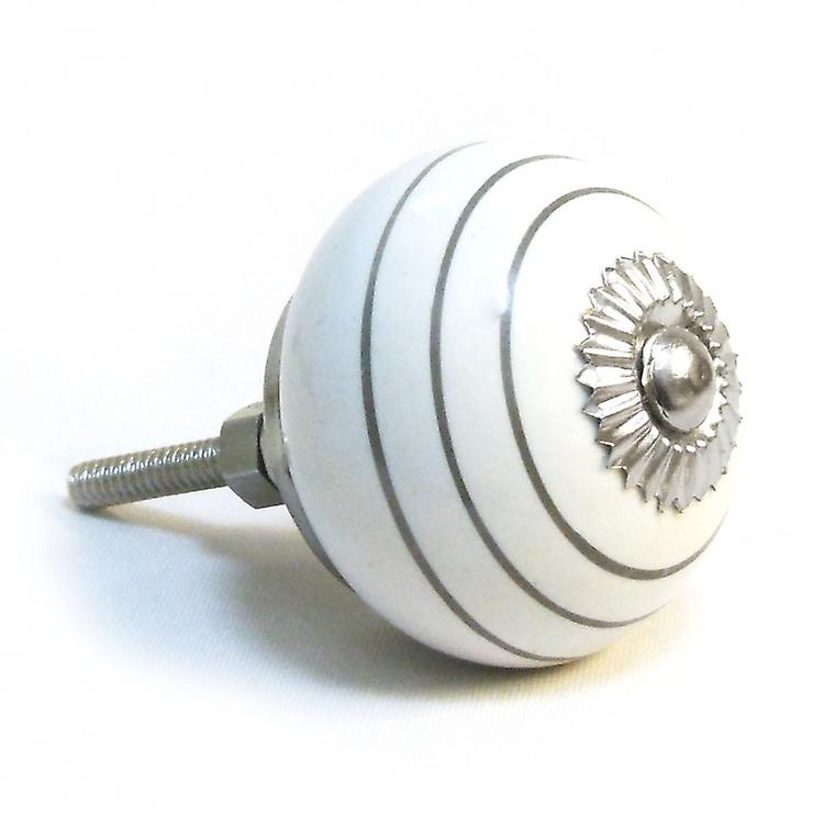 White / Silver Stripes Ceramic Cupboard Knob
