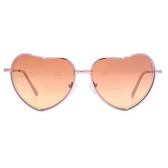 Monkey Monkey Ava Metal Heart Sunglasses In Pink