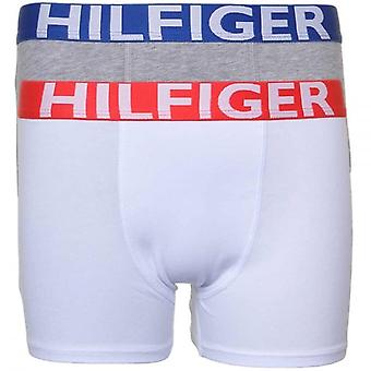 Tommy Hilfiger Boys 2 Pack Bold Boxer Trunk, White / Grey, Medium