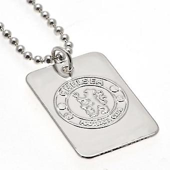 Placcato argento Chelsea Dog Tag & catena