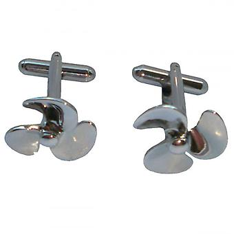 Bassin and Brown Propeller Cufflinks - Silver