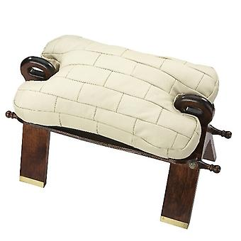 Camel stool stool with cushion leather beige real wood frame
