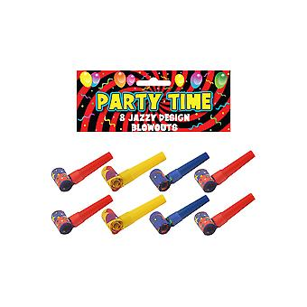 Henbrandt Pack of 8 Party Time Colourful Jazzy Design Blowouts