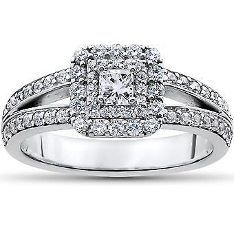 1 ct Princess Cut diamant dubbla Halo förlovningsring 14k vitguld