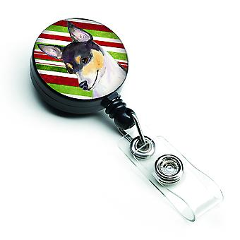 Chihuahua Candy Cane Holiday Christmas Retractable Badge Reel