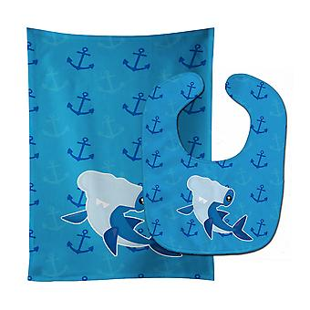 Hammerhead Shark on Anchors Baby Bib & Burp Cloth