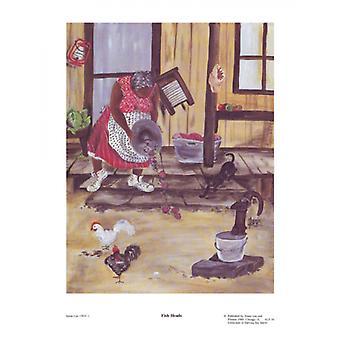 Fisch-Köpfe (Mini)-Plakat-Druck von Annie Lee (9 x 12)