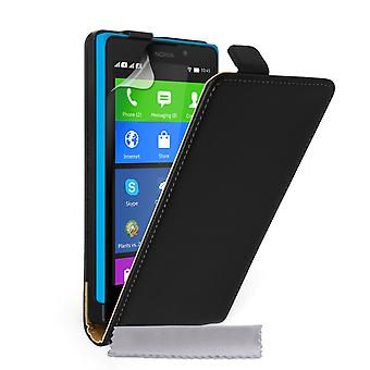 Caseflex Nokia XL Real Leather Flip Case - Black