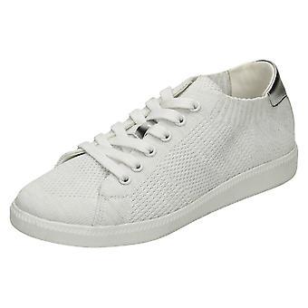 Ladies Reflex Ribbed Lace Up Pumps - White Textile - UK Size 8 - EU Size 41 - US Size 10