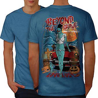 Beyond The Grave Zombie Men Royal BlueT-shirt Back | Wellcoda