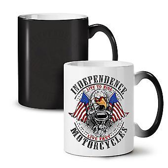 Independence Eagle NEW Black Colour Changing Tea Coffee Ceramic Mug 11 oz   Wellcoda