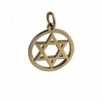 9ct Gold 17mm plain Star of David Pendant