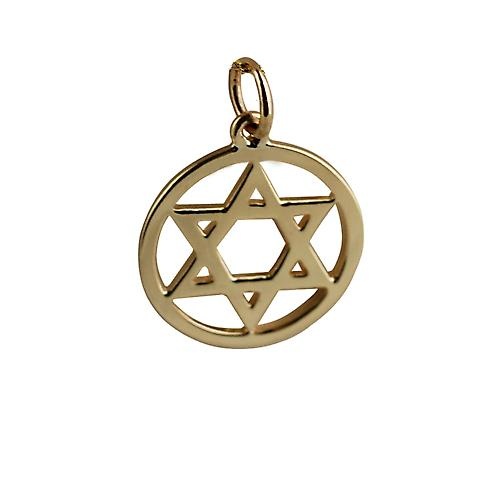 9ct Gold 17mm plain Star of David Pendant