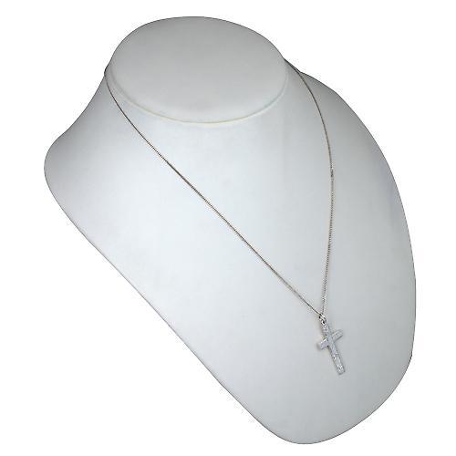 Silber 34x19mm flachen Hand graviert lateinischen Kreuzes mit einem Kinnkette
